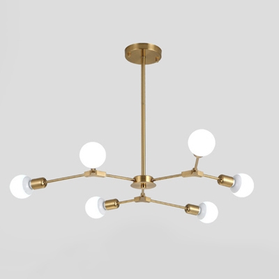 Industrial Chandelier With 6 Light In Open Bulb Style, Gold