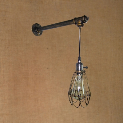 Industrial Wall Sconce with Metal Cage Shade and Hanging Cord in Bronze