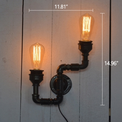 Industrial Wall Sconce with Pipe Fixture Arm, 2 Light