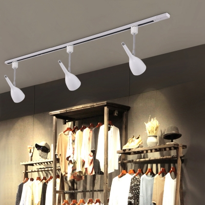 Industrial 3 Light Semi-Flush Ceiling Light Soptlight with Metal Shade in White/Black