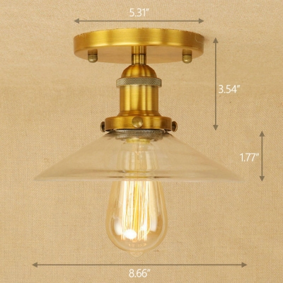 Industrial 87w flushmount ceiling light with cone glass shade in industrial 87w flushmount ceiling light with cone glass shade in vintage style aloadofball Images