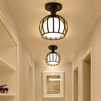 Vintage Globe Semi-Flush Ceiling Light with Metal Frame for Hallway Kitchen Foyer in Black/White