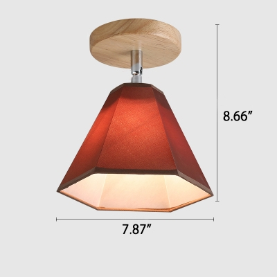 Industrial Vintage Flushmount Ceiling Light with Fabric Shade in White/Brown Finish