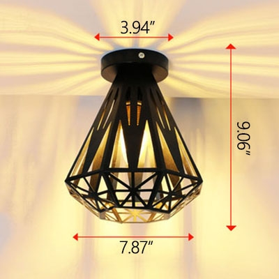 Industrial 7.9''W Flushmount Ceiling Light with Diamond Metal Cage in Black Finish