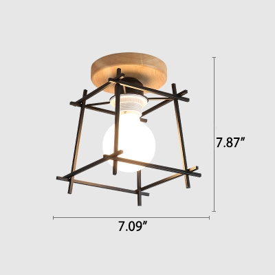Industrial 7''W Flushmount Ceiling Light with Metal Cage in White/Black Finish