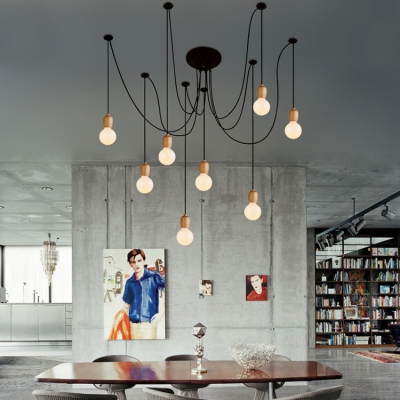 Modern 8 Light Multi Pendant In Open Bulb Style