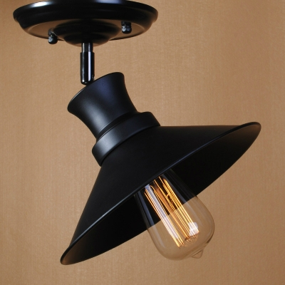 Industrial Vintage 9.5''W Semi-Flush Ceiling Light with Cone Metal Shade in Black Finish