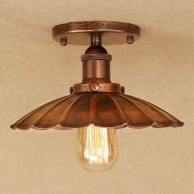 Industrial Vintage 9.8''W Flushmount Ceiling Light with Scalloped Metal Shade, Rust