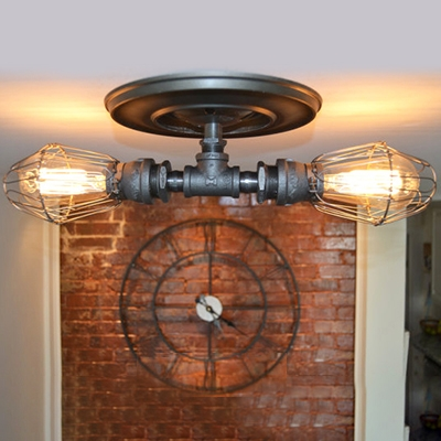 Industrial 2 light semi flush ceiling light with metal cage shade in industrial 2 light semi flush ceiling light with metal cage shade in pipe style aloadofball