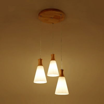 Industrial 3 Light Multi Light Pendant with Cone Glass Shade