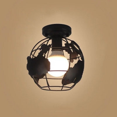Industrial 7.1''W Flush Mount Ceiling Fixture with Globe Metal Cage in Black