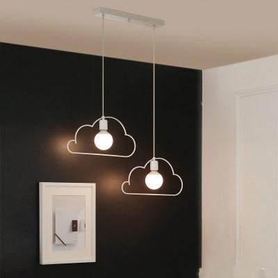Industrial 2 light multi light pendant with cloud shape metal frame industrial 2 light multi light pendant with cloud shape metal frame in white finish aloadofball Gallery