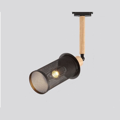 Industrial Semi-Flush Ceiling Light with Cylinder Metal Mesh in Black