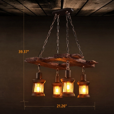 Industrial Vintage 21''W Multi Light Pendant with Glass Shade in Nautical Style, 4 Light