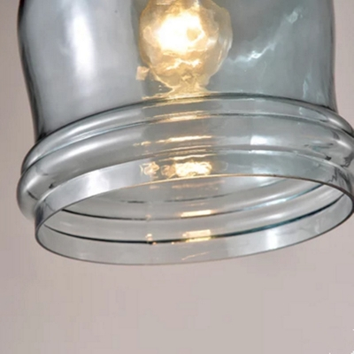 Industrial Vintage 3 Light Multi Light Pendant with Blue Glass Shade, 23.5''W