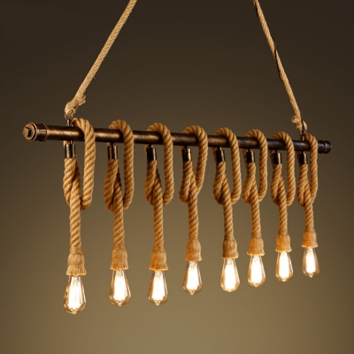 Industrial 59''W Multi Light Pendant with Rope and Rust Pipe, 8 Light