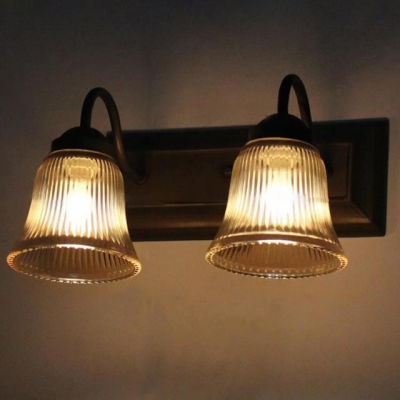 Industrial Vintage 2 Light Multi Light Wall Sconce with Bell Glass Shade and Gooseneck Fixture Arm