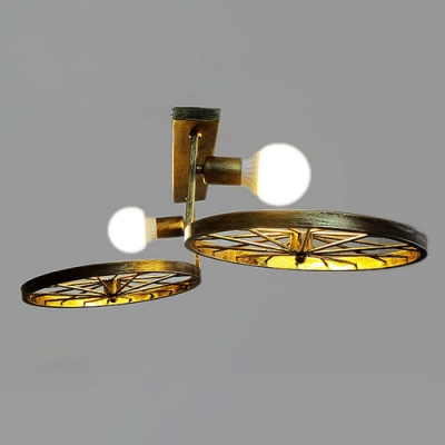 Industrial 2 Light Semi-Flush Ceiling Light with Wheel in Open Bulb Style, Antique Bronze