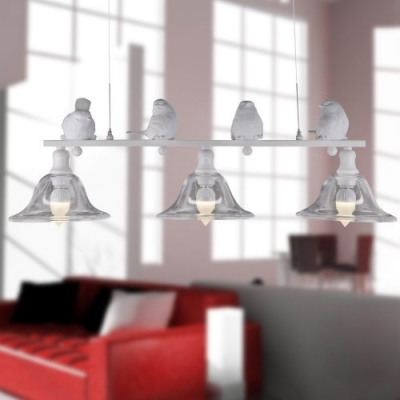 Industrial 30''W Multi Light Pendant with Bell Glass Shade in Nordical Style, 3 Light, White