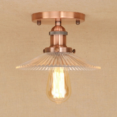 Industrial 87w flushmount ceiling light with ribbed glass shade industrial 87w flushmount ceiling light with ribbed glass shade in vintage style aloadofball Images