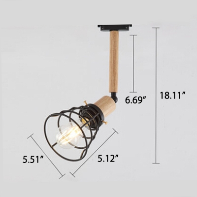 Industrial Vintage Semi-Flush Ceiling Light with Metal Cage in Black