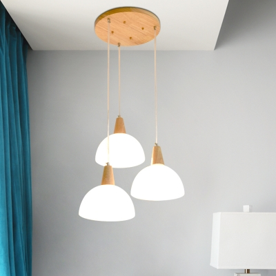 Industrial 3 Light Multi Light Pendant with Bowl Glass Shade in Nordical Style, White