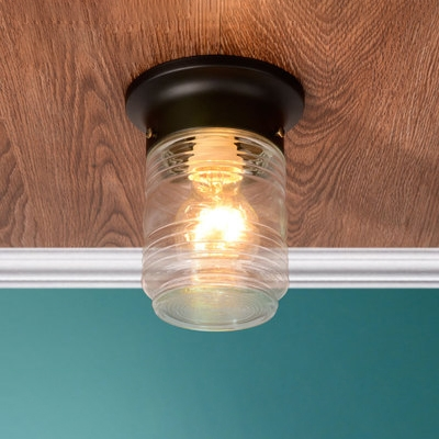 Industrial Flushmount Ceiling Light with Cylinder Glass Shade in Black/White