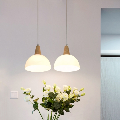 Industrial Multi Light Pendant 2 Light with Bowl Glass Shade in White