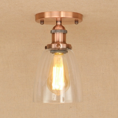 Industrial 6''W Flushmount Ceiling Light with Clear Glass Shade in Rust/Brass/Bronze/Copper Finish