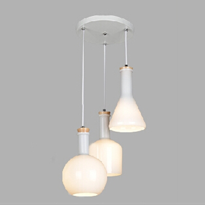 Industrial Nordical 3 Light Multi Light Pendant with White Glass Shade