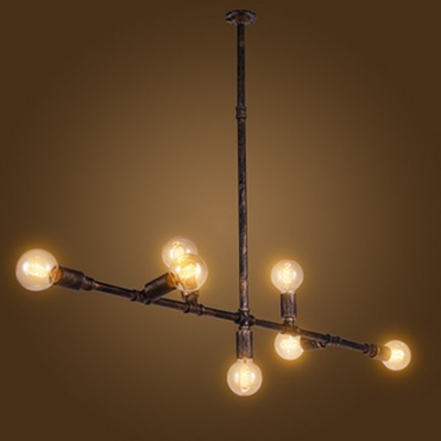 Industrial Vintage 7 Light Multi Light Pendant in Open Bulb Style, 53''W, Rust