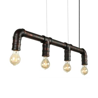 Restoration LOFT Downward Four Lighted Rust Linear LED Pendant