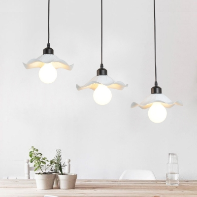 Industrial 20''W Multi Light Pendant with Metal Shade in White Finish, 3 Light