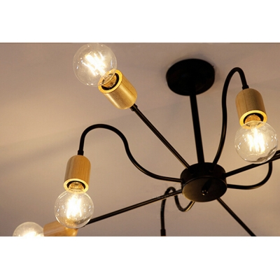 Industrial 31.5''W Chandelier in Open Bulb Style, 6 Light
