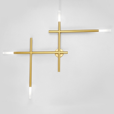 Industrial 35.5''W Multi Light Wall Sconce in Open Bulb Style - Black/Gold