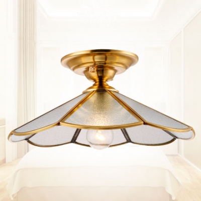 Industrial Vintage 12''W Flushmount Ceiling Light with Scalloped Glass Shade in Brass Finish, HL461762