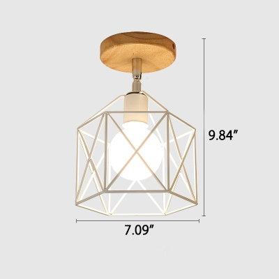 Industrial 7''W Flushmount Ceiling Light with Metal Cage Shade in White/Black