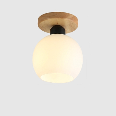 6 W Flushmount Ceiling Light With Globe Gl Shade In White