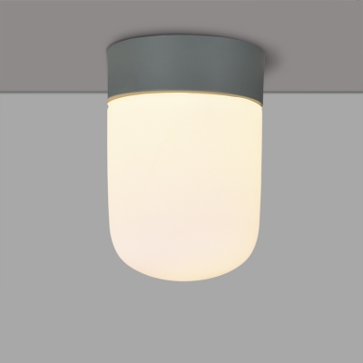 Industrial Flushmount Ceiling Light with White Glass Shade in Nordical Style