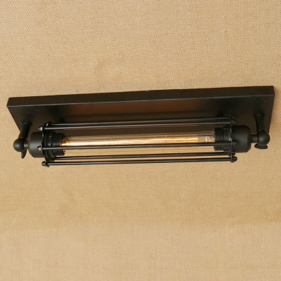 Industrial Tube Flushmount Ceiling Light with Metal Cage in Black Single Light for Hallway Porch Cabinet