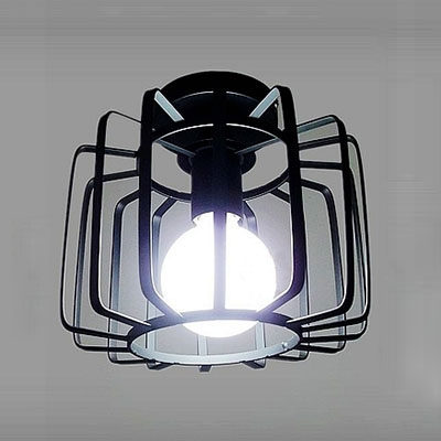 Industrial 8.5''W Flushmount Ceiling Light with Metal Cage in Nordical Style, Black