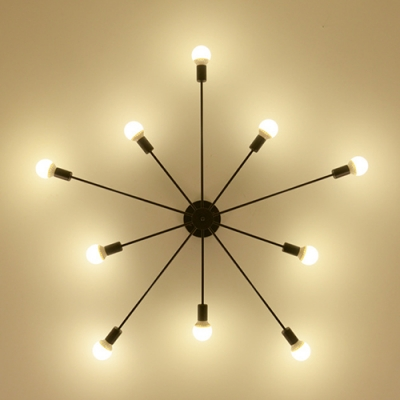 Industrial Edison Bulb 10 Light Semi-Flush Ceiling Light in Open Bulb Style, 48''W, Black/White