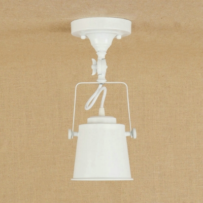 Industrial Semi-Flush Ceiling Light Soptlight with Metal Shade in White
