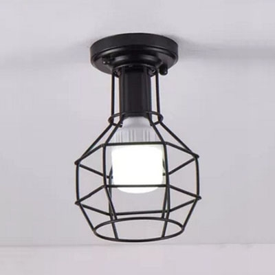 Industrial Simple Flush Mount Ceiling Fixture with Bottel Metal Cage in Black