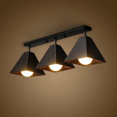 Industrial 3 Light Flushmount Ceiling Light with Metal Shade in ...