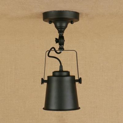 Industrial 5.3''W Semi-Flush Ceiling Light Soptlight with Metal Shade in Black