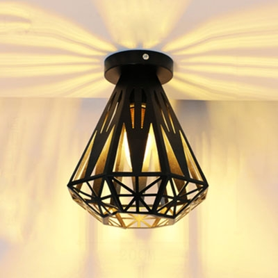 7 9 W Flushmount Ceiling Light With Diamond Metal Cage In Black Finish