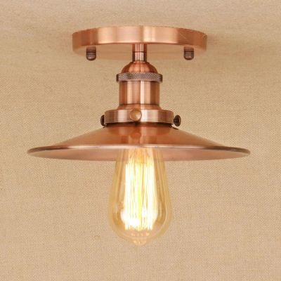 Industrial Vintage 8.5''W Flushmount Ceiling Light with Saucer Metal Shade