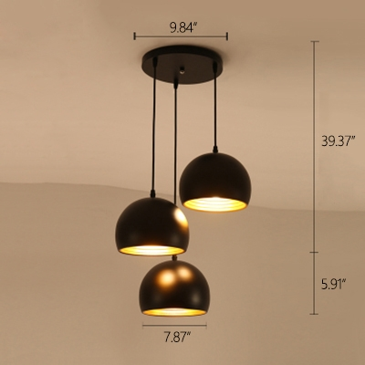 Industrial 3 Light Multi Light Pendant with Bowl Metal Shade in Black