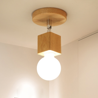 Industrial Mini Flushmount Ceiling Light in Open Bulb Style